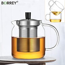 BORREY Heat Resistant Glass Teapot  With Filter Heated Teapot Available for Electric Ceramic Stove Oolong Puer Coffee Tea Pot