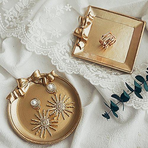 Gold Decorative Ottoman Coffee Tea Serving Tray Round Centerpiece Vintage for Bar Outdoor Dresser Espresso Dessert House