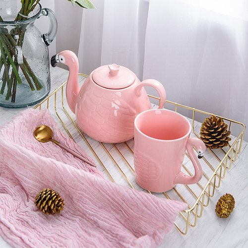 Ceramic Tea Set Creative Pink Flamingo Teapot Drinking Tea Cup Sets Water Coffee Cup Fruit Juice Mugs Set Teaware Accessories