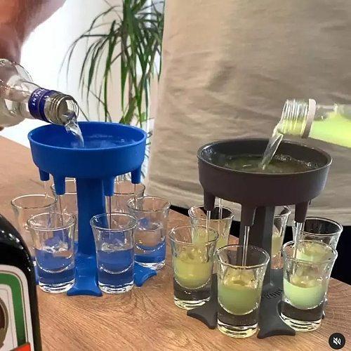 6 Shot Glass Dispenser Holder Party Beverage Drinking Games Bar Cocktail Wine Quick Filling Tool Carrier Caddy Liquor Dispenser