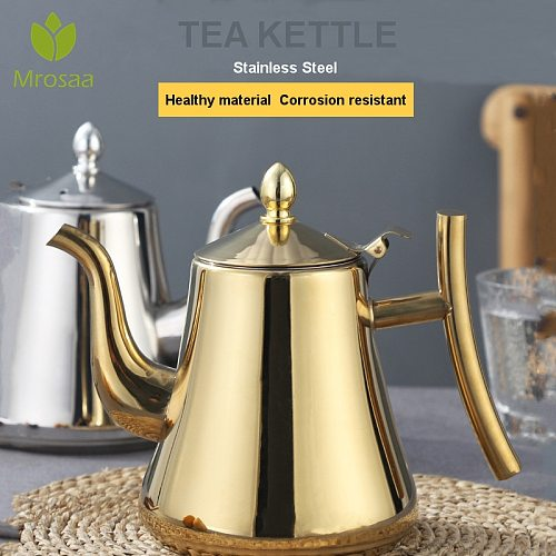 1/1.5/2L Stainless Steel Water Kettle TeaPot Thicker With Filter Hotel Tea Pot Coffee Pot Induction Cooker Universal Gold Silver