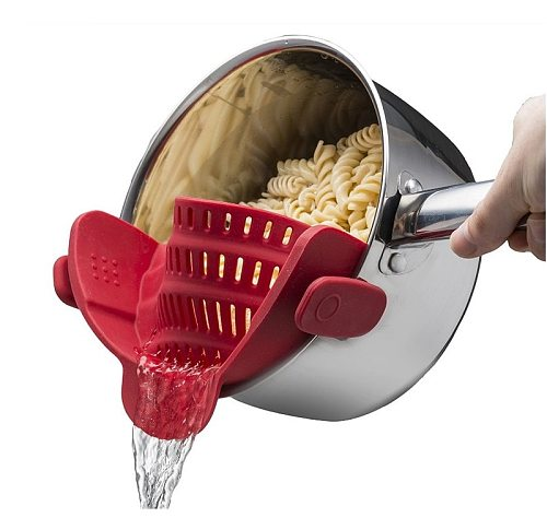 Silicone clip-on pot pan bowl funnel oil strainer Creative Rice Washing Colander for draining liquid Fits  Kitchen Accessories