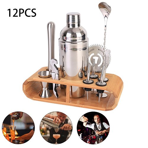 12Pcs/Set Cocktail Shaker Mixer Bartender Kit with Stylish Wooden Stand 750ML Stainless Steel Bartending Kit for Home Bar Party