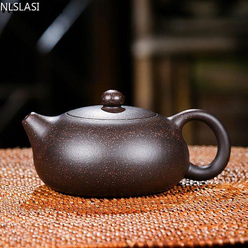 Chinese Yixing teapot purple clay xishi pot handmade unique shape pot kettle home ball hole Dahongpao oolong tea tea set 150ml