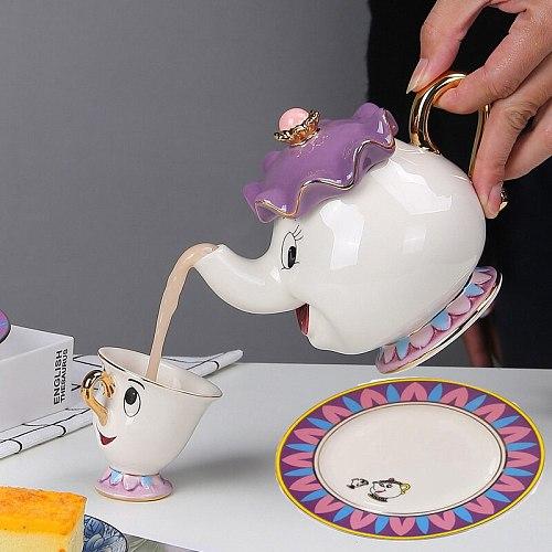Cute Teapot Cup Plate Cartoon Tea Set Beauty and The Beast Teapot Mug Tea Pot Cup One Set Lovely Gift Tea Set Teaware