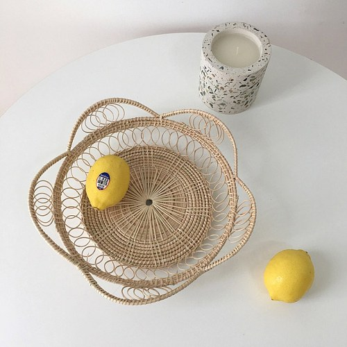 Rattan Bread Basket Petals Shape Hand-Woven Tea Tray Japanese-Style Kitchen Cotton Linen Braided Table Placemats Cloth