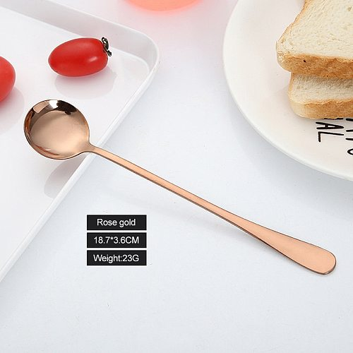 Stainless Steel Colorful Spoon 18.8 * 3.5 Cm Long-Handled Spoons Flatware Coffee Drinking Tools Kitchen Gadget Drop Shipping