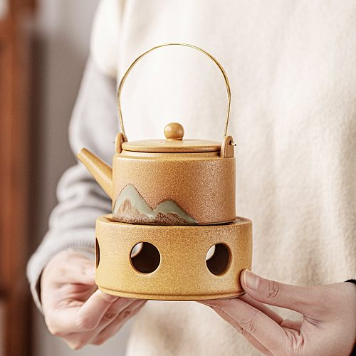 Pottery Teapot Vintage Coarse Heating Base Ceramic Tea Cup Warmer Heater Stove Tea Pot Base Candle Holder Chinese Teaware Warm