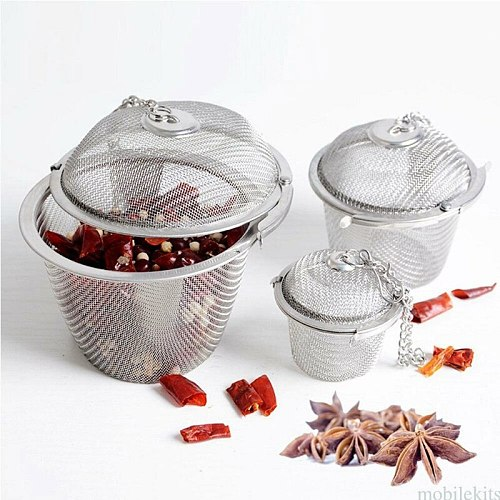 1pc Tea Infuser Ball Stainless Steel Tea-leaf Strainers for Brewing Device Herbal Spice Secure Locking Filter Kitchen Tools