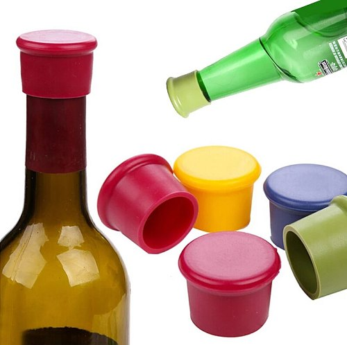1/5/10Pcs Reusable Bar Kitchen  Tools Wine Bottle Silicone Preservation Stoppers Kitchen Wine Champagne Stopper Beverage Closure