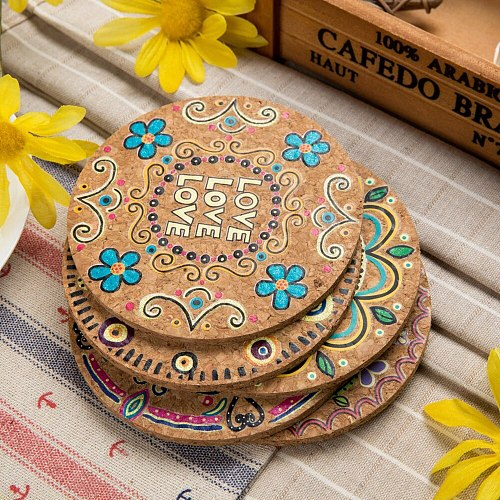 4Pcs Round Natural Cork Moisture Resistant Drink Coasters Cup Coasters Patterned Heat Insulation Mats Pot Holder Tea Trays