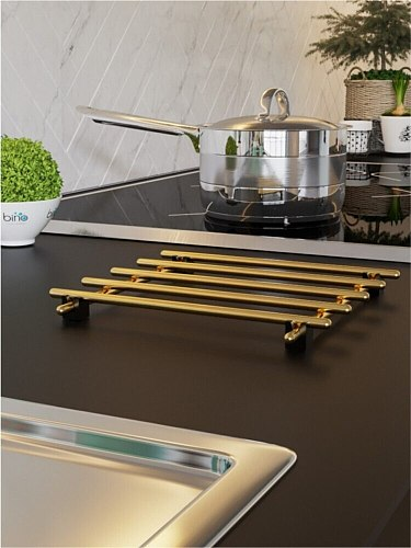 Gold Plated Teapot Cookware Pan Tablemat, Trivet Bino Stainless Steel Series Protect Surface Decorative Kitchen