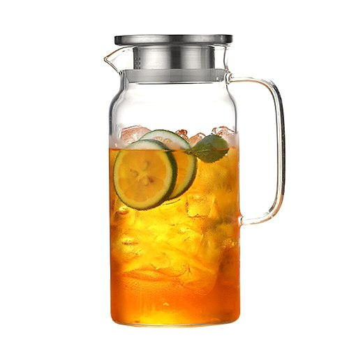 Teapot Glass Tea Maker Large Capacity Heat Resistant Juice Bottles With Removable Stainless Steel Cover High Quality