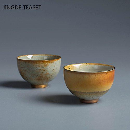 2pcs/set Retro Kiln change pottery Teacup Handmade Tea Bowl Chinese Ceramic Tea set Accessories Personal Single Cup Drinkware
