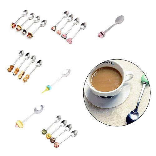 Brand 1PC Cute Cartoon Teaspoons Cake-shaped Handles Stainless Steel Coffee Spoon Kids Scoop Kitchen Dining Tableware