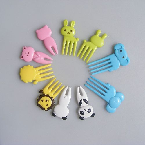 New Mini 10PCS Fruit Forks Kids Cute Animal Food Fruit Picks Forks Lunch Box Toothpick Bento Lunches Party Tableware Decor