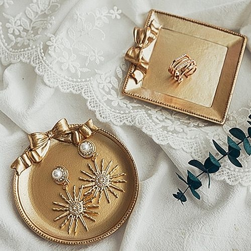 Retro Nordic Round Tea Pot Cake Storage Tray Home Wedding Decorative Dessert Jewelry Display Plate Q1JB