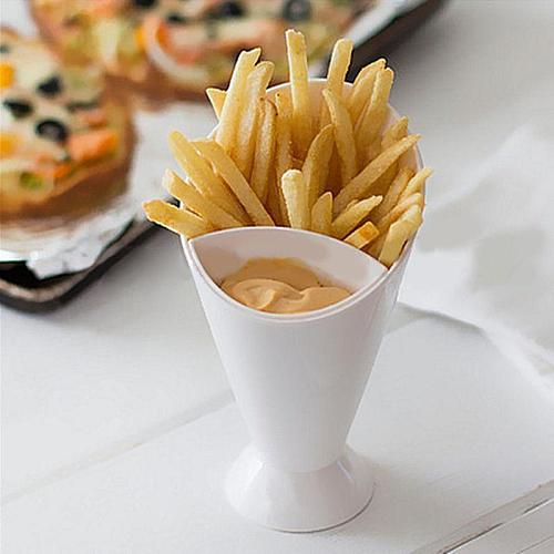 Snack Cone Stand + Dip Holder For Fries Chips Finger Food Sauce Vegetables