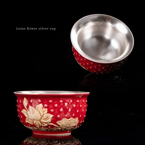 999 silver tea cup lotus ceramic teacup drinkware Red Blue Color Tea Set Teacup Porcelain for puer Oolong Tea Master Bowl 80ml