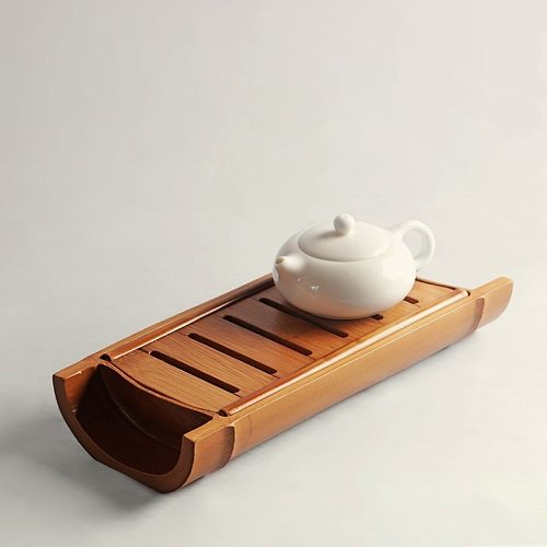 Bamboo Gongfu Tea Tray Ceremony Accessories Water Storage With Draining Shelf Creative Teapot Trivets Saucer Wooden Large Holder