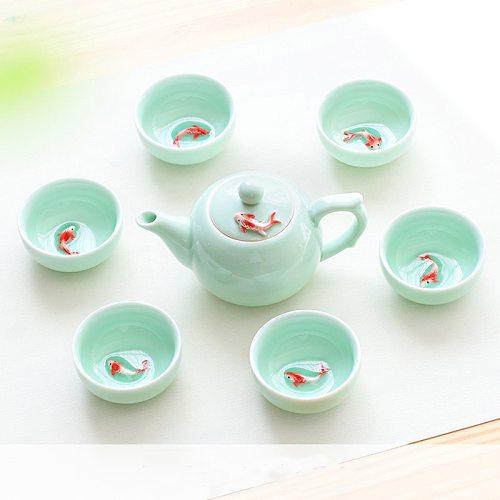 6pcs Kung Fu Tea Cup Set Celadon 3D Golden Fish China tea cups,Crackle Glaze Travel Tea Bowl Chinese Porcelain Teacup Set