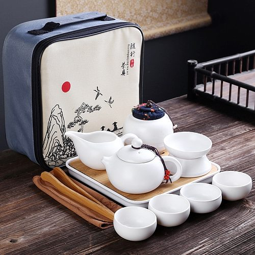 Portable Ceramic Teaware Set Chinese Kung Fu Teaset Teapot Traveller Teaware With Bag Teaset Gaiwan Tea Cups Of Tea Ceremony