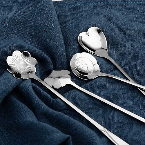 Hot 1 Pc Stainless Steel Sakura Rose Cosmos Love Heart Shaped Measuring Spoons Tea Coffee Spoon Drink Supplies