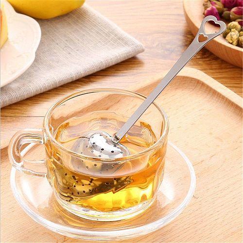 Useful Heart Shape Stainless Steel Tea Leaf Herbal Filter Infuser Spoon Strainer Seasoning Strainer Teapot Gadgets Kitchen Tools