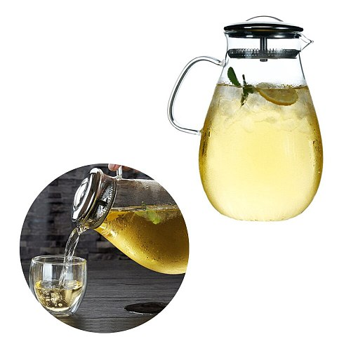 1.9L large Capacity High Borosilicate Heat Resistant Glass Filter Flower Teapot Explosion-proof Kettle