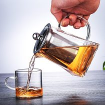 High borosilicate glass flower teapot, stainless steel filter tea kettle, large-capacity household square square teapot hot sale