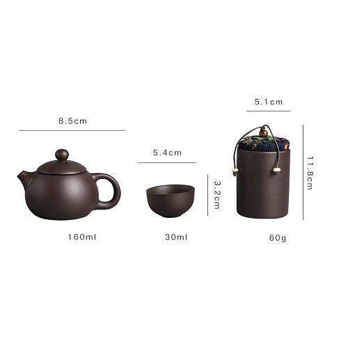 Portable Travel Teaware Set Purple Clay Kung Fu Tea Set Chinese Porcelain Zisha Tea Pot 4 Cups Tea Cup Handmade Drinkwaret Set
