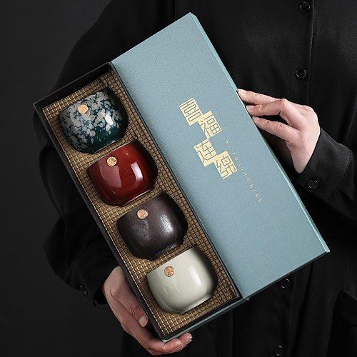 Japanese Handmade Ceramic Tea Cup ,Porcelain Kung Fu Teacup ,Master Single Cups,Tea Bowl Teaware ,For Business Gift