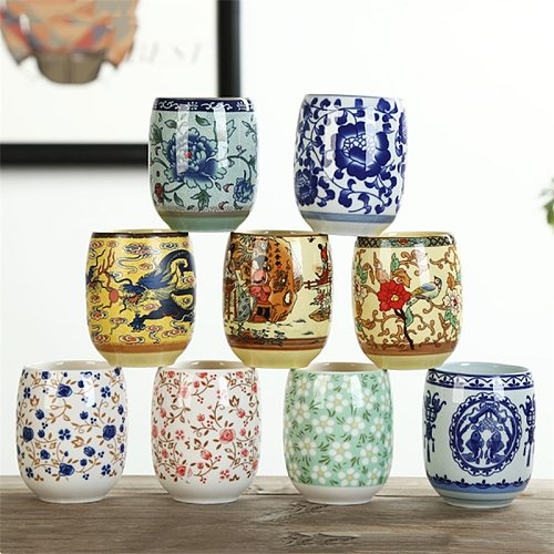 Japanese Style Large Retro Blue and White Porcelain Tea Cup Kung Fu Drinkware Household Water Mug Wine Glass Office Teacups