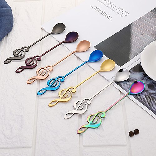 Stainless Steel Musical Note Spoon Anti-rust Long Service Life Coffee Stirring Spoon Dessert Spoon Kitchen Home Creative Cutlery
