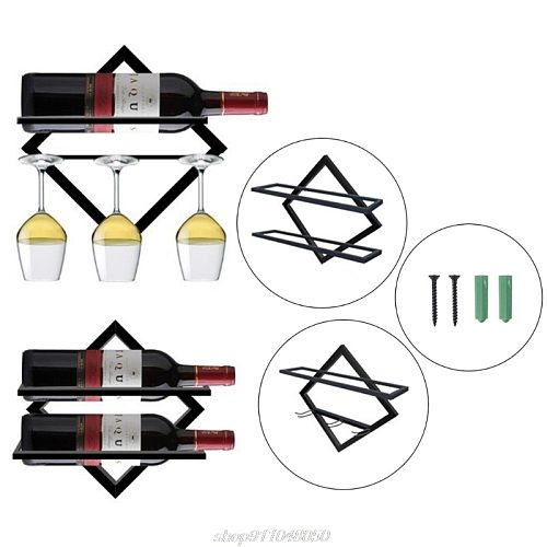 Wall Mounted Upside Down Wine Rack Bottle Goblet Glass Holder Storage Shelf Organizer Home Decor A13 21 Dropshipping