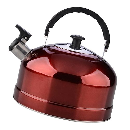 Whistling Kettle Stainless Steel Teapot Stovetop Fast Coffee Milk Pot Red 4L