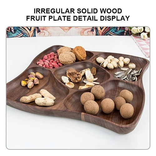 Wood Irregular Oval Solid Wood Pan Plate Tea Tray Serving Table Plate Snacks Food Storage Dish for Hotel Home Serving Tray