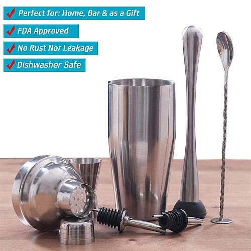 Stainless Steel Cocktail Shaker Mixer Wine Martini Boston Shaker For Bartender Drink Party Bar Tools 550ML