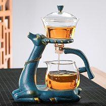 Glass Teapot Infuser Magnetic Drip Pot Maker Dripping w/ Base Reindeer Decor