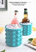 Silicone Maker Portable 2 in 1 Large Silicone Bucket with Lid Space Saving Maker Tools Kitchen Bar Tools