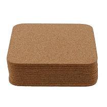 10pcs Anti-slip Simple Square Natural Cup Pad Blank Coaster Cork Coaster for Desktop
