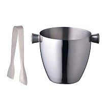 1pc Stainless Steel Ice Bucket with Tong Portable Ice Chiller Cooler Ice Cube Container for Champagne Beer (Silver, 1.5L)