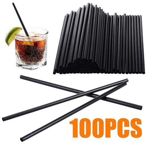 TTLIFE 100pcs/lot Disposable Black Cocktail Straws Flexible Drinking Straw Party Straw For Home Birthday Wedding Party Supplies