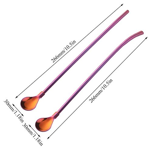 Multicolor Stainless Steel Long Metal Drinking Straw Spoon 266mm Reusable Tea Coffee Bar Kitchen Party Drink Straws Accessories