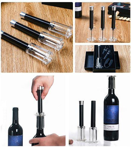 Wine Bottle Opener Set Stainless Steel Needle Air Pressure Pump Openers Wine Opener Cork Out Remover Kichen Tools Corkscrew Set