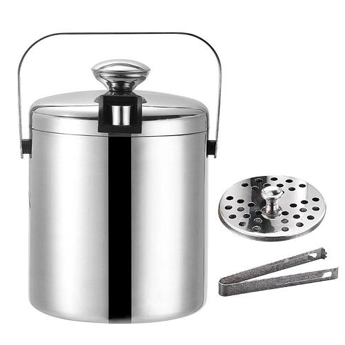 Ice Bucket with Lid and Strainer - Well Made Insulated Stainless Steel Double Wall Keep Ice Frozen- 1.3 Liter #CW