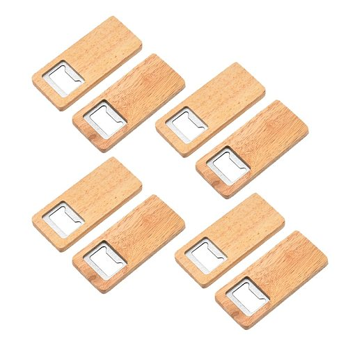 8 Pack Wood Beer Bottle Opener Wooden Handle Corkscrew Stainless Steel Square Openers Bar Kitchen Accessories Party Gift
