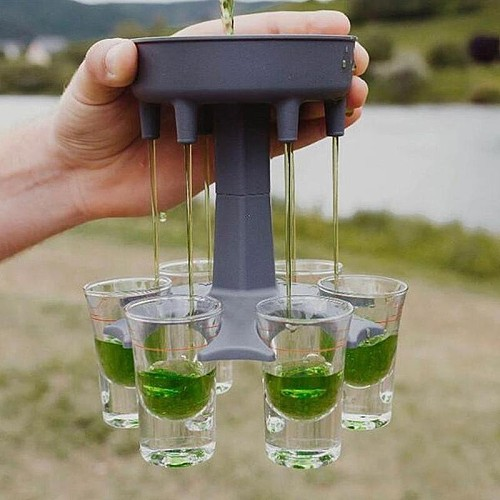6 Shot Plastic Dispenser Plastic Holder Wine Pourers Whisky Beer Dispenser Rack Bar Accessories Dispenser Party Drinking Tool