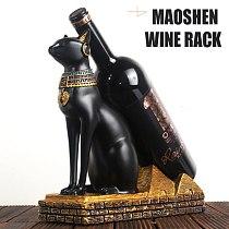 Wine Rack Statue Egyptian Cat Bottle Holder Stand Ancient Egypt Mysterious Resin Craft For Home Living Room Bar Botellero Vino