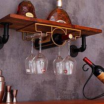 Hanging Wine Bottle Holder Rack Support For Goblet Glass Metal Wall Decor Shelf Wine Organizer Hanger